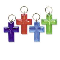 Schlüsselanhänger Kreuz   lila